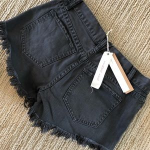 Pants - Black distressed denim shorts